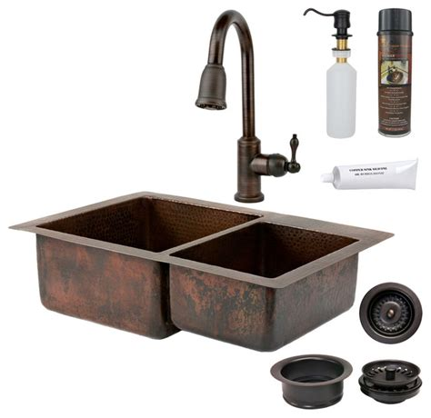 rustic kitchen sinks 33 quot copper kitchen 60 40 sink w orb faucet rustic
