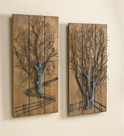 decorative pieces for home wall designs wood and metal wall 2 pieces