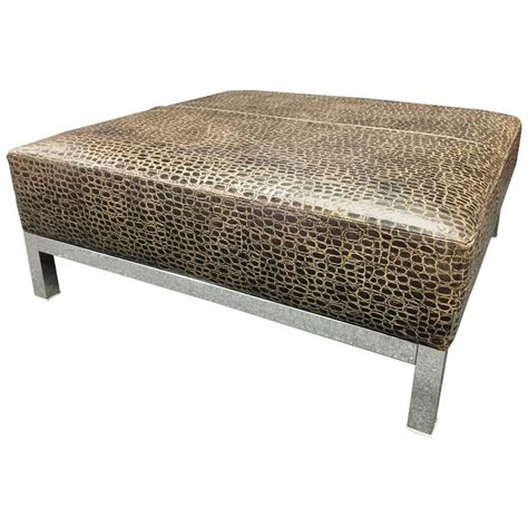 large ottoman coffee table striking large patterned leather and chrome base coffee