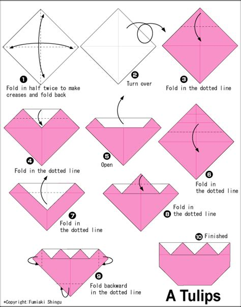 easy origami for tulips2 easy origami for