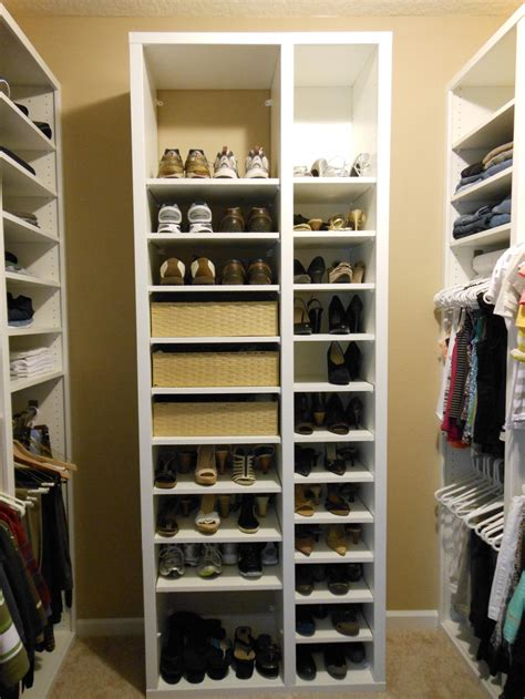 Floor To Ceiling Shoe Rack by Brown Hardwood Built In Cabinetry As Clothes And Shoe