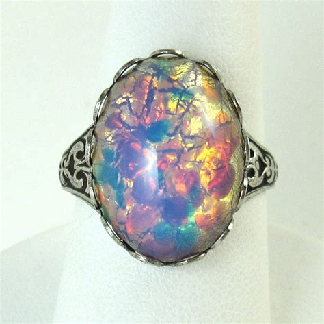 Opel Rings opals rings glasses stones antiques silver rings