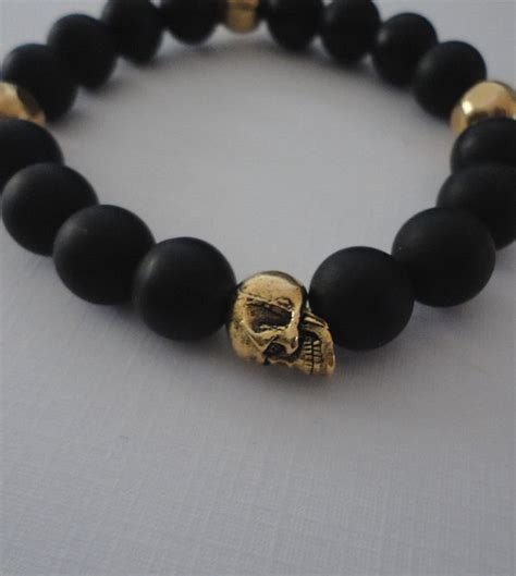 mens beaded skull bracelets black onyx skull bracelet for with by