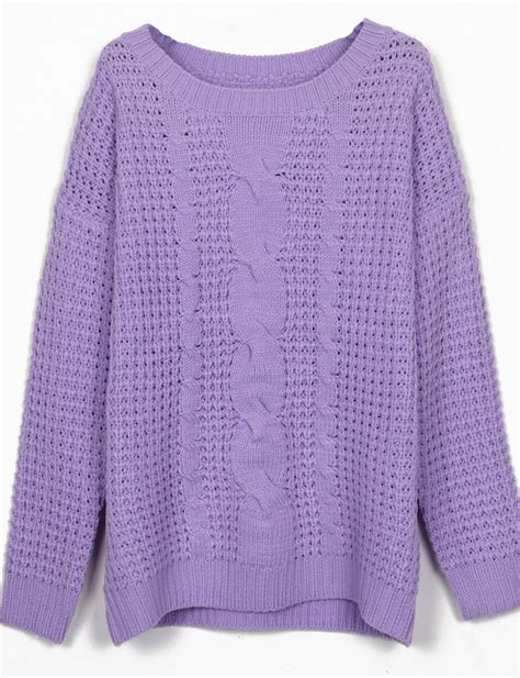 knitting sweater purple neck cable knitting jumper sweater