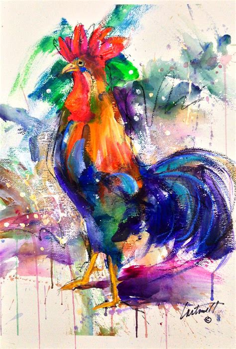 acrylic paint or watercolor rooster acrylic on watercolor paper painting greg
