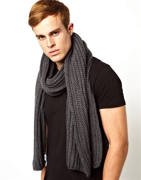 mens chunky knit scarf connection chunky knit scarf in gray for lyst