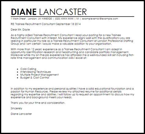 trainee recruitment consultant cover letter sample