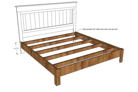 wood bed frame construction king size bed frame building plans plans free
