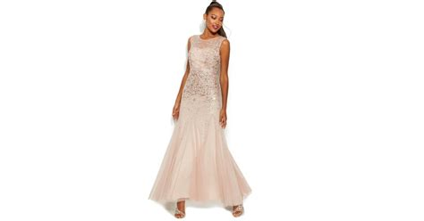 sleeveless beaded illusion gown papell sleeveless beaded illusion gown in pink lyst