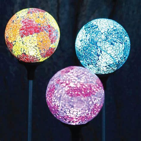 solar mosaic garden lights pink mosaic globe solar garden light ebay