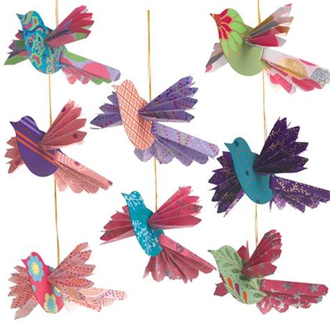 paper birds craft handmade paper bird ornaments ideal for the tree or for