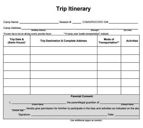 effective travel itinerary template examples vlashed