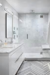 modern gray tile bathroom marble herringbone tile floor cottage bathroom