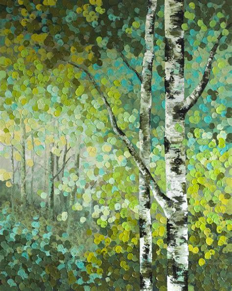acrylic painting of trees seeds original acrylic aspen birch tree acrylic