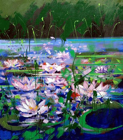 acrylic painting water lilies water lilies by mario zedroni