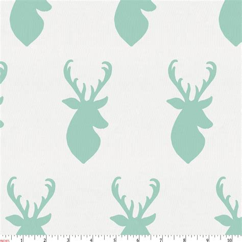 mint deer head fabric by the yard green fabric