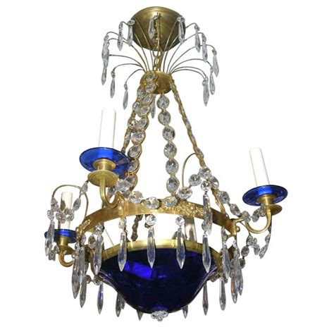 cobalt blue chandelier swedish chandelier with cobalt blue glass base and bobeches at 1stdibs