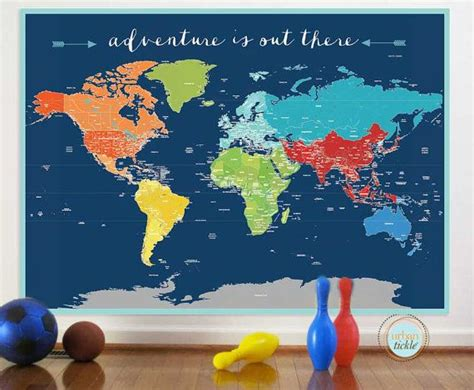 room map world map sticker adventure world nursery decor baby
