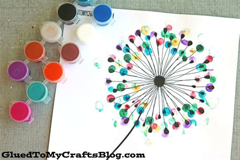 crafts for free thumbprint dandelion kid craft w free printable glued