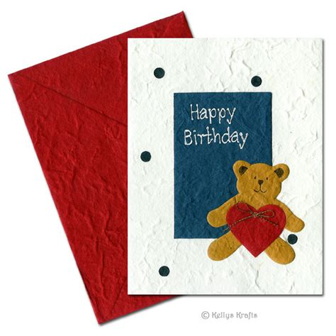 greeting card supplies handmade mulberry greeting card happy birthday teddy 163
