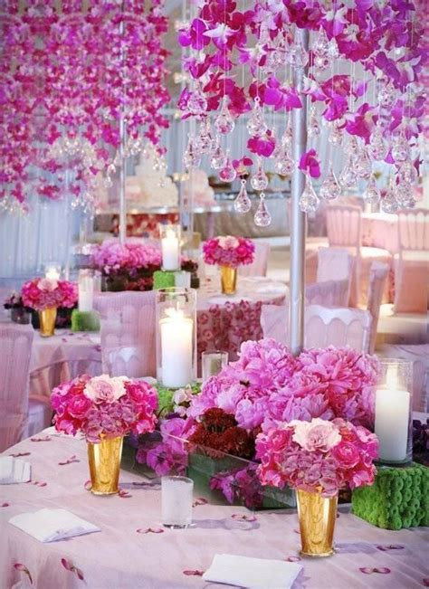 hanging pink flowers and chandelier glass droplets pink wedding decoration 1911789