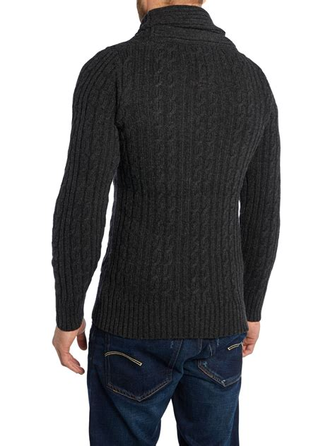 cable knit cardigan g shawl collar cable knit cardigan in black for