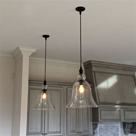 hanging lighting fixtures for kitchen above kitchen counter large glass bell hanging pendant