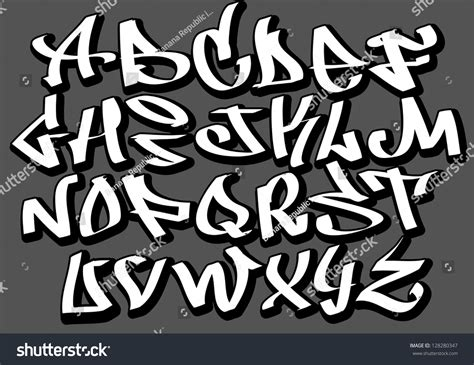 graffiti font alphabet letters hip hop stock vector
