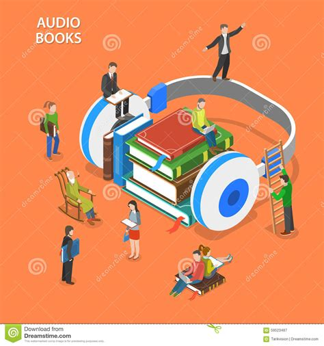 audio books with pictures audio books isometric flat vector concept stock vector