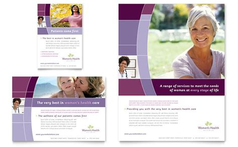 women s health clinic flyer amp ad template design