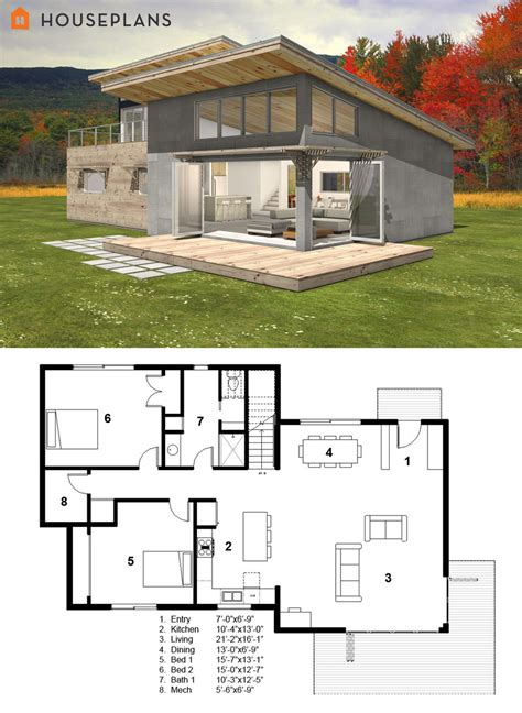 efficient small house plans small modern cabin house plan by freegreen energy