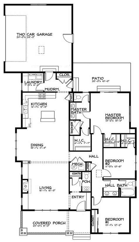 bungalow floor plans free bungalow style house plan 3 beds 2 5 baths 1887 sq ft