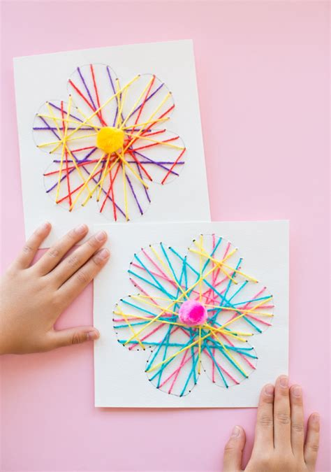 string crafts for string flower cards family crafts