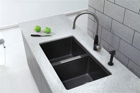 black undermount kitchen sinks kraus kgu 434b undermount bowl black onyx granite