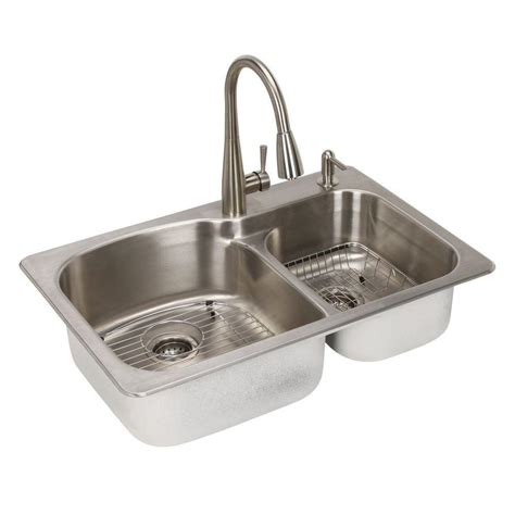 glacier bay stainless steel kitchen sink glacier bay all in one dual mount stainless steel 33 in 2
