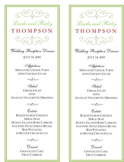 wedding buffets menus wedding menu template 5 free printable menu cards