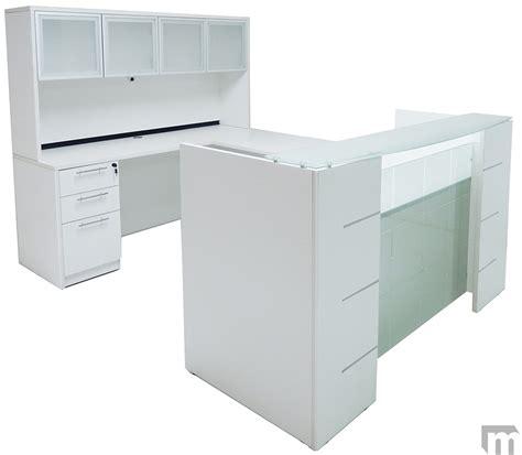 glass u shaped desk u shaped glass front reception desk w hutch