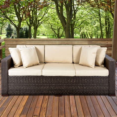 brown and outdoor furniture outdoor wicker patio furniture sofa 3 seater luxury