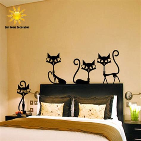wall stickers for rooms 4 black fashion wall stickers cat stickers living room