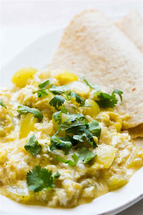 scrabbled eggs recipe tomatillo scrambled eggs recipe simplyrecipes