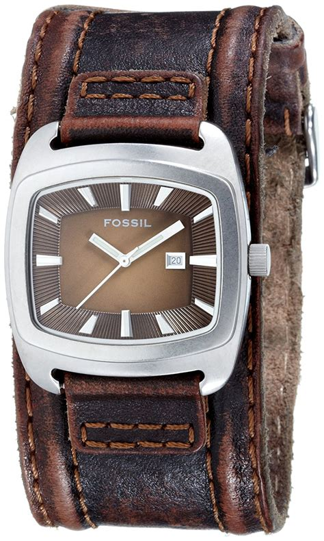 fossil watches with leather bands new fossil wide brown leather band silver tone date jr9156 tag ebay