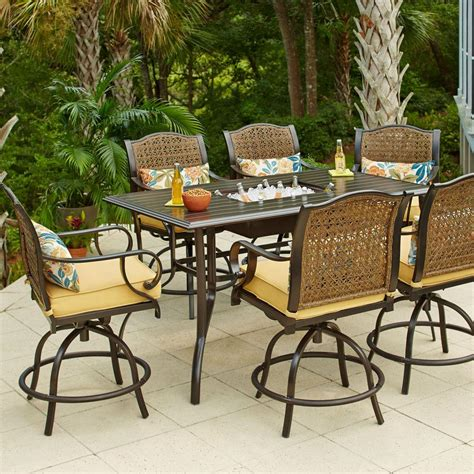 bar set patio furniture hton bay vichy springs 7 patio high dining set