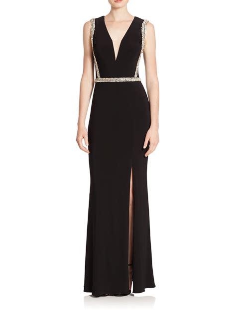black beaded dress basix black label beaded column dress in black lyst