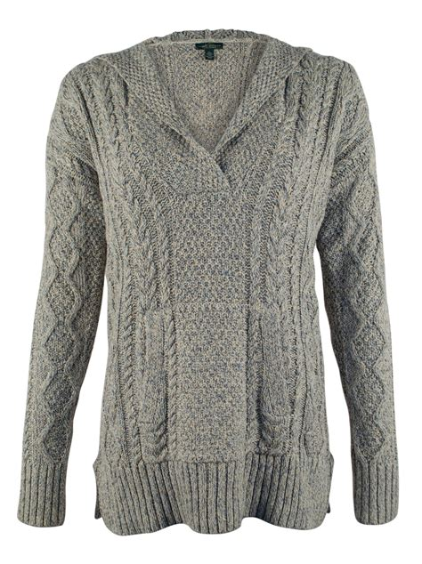 the knit company co s cable knit hooded sweater ebay