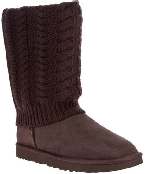 cable knit boots ugg cable knit knee length boot in brown lyst