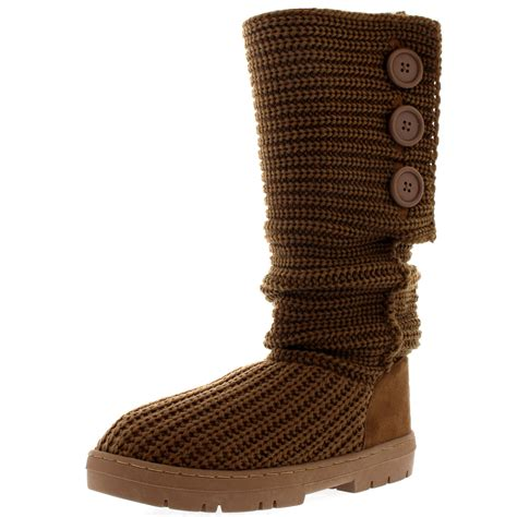 knitted boots with buttons button knitted cardy classic fur lined snow