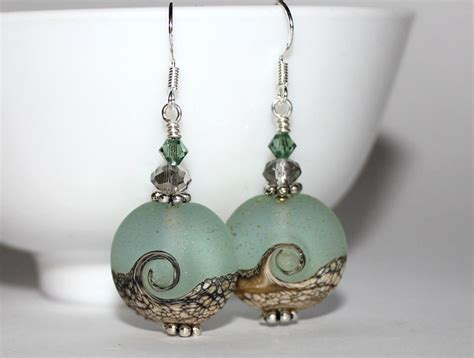 handmade beaded earrings beautiful wave handmade bead earrings felt