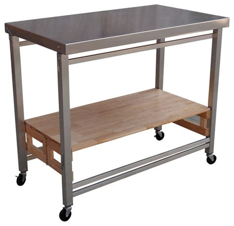 stainless kitchen islands x large folding island stainless steel and wood modern