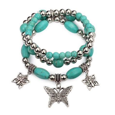 pics of beaded bracelets stretch charm bracelet set turquoise silver beaded