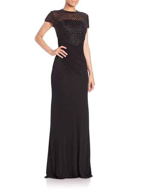 black beaded gown david meister beaded net bodice gown in black lyst